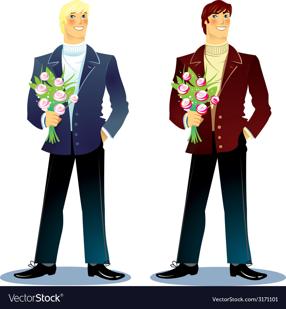 Man with a bouquet vector | Price: 1 Credit (USD $1)