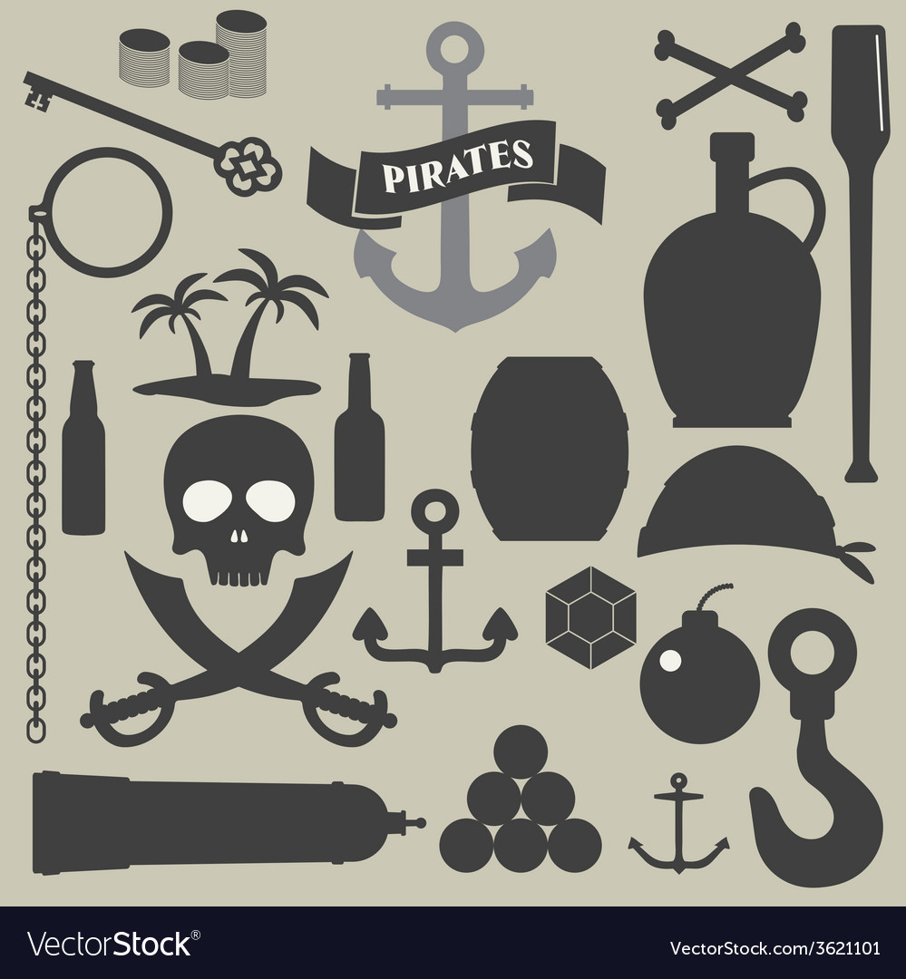 Pirates icons set vector | Price: 1 Credit (USD $1)