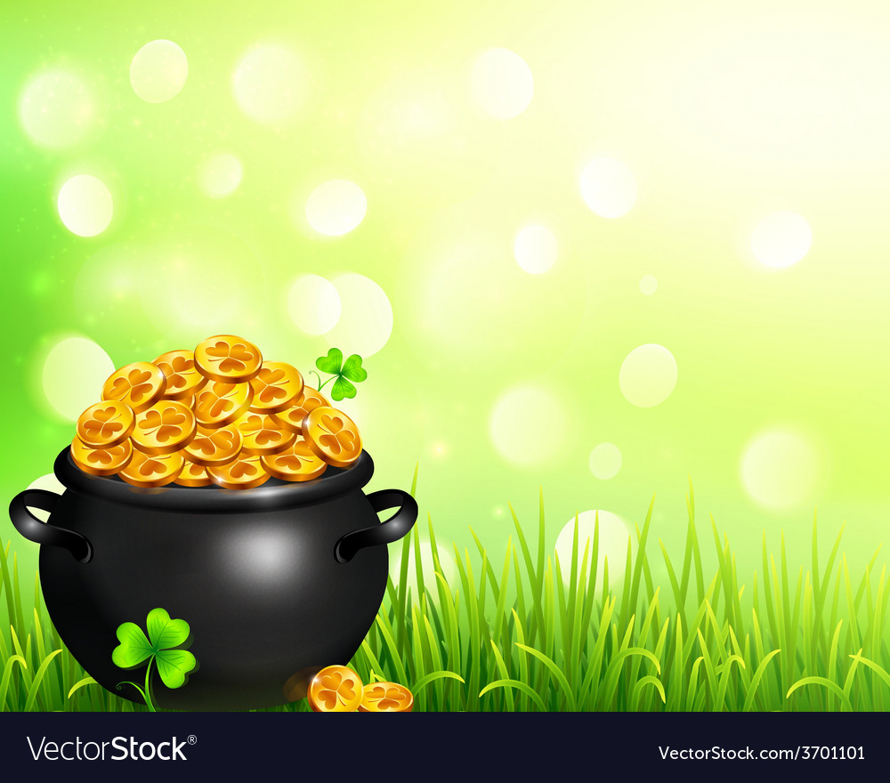 Pot of magic gold on bokeh light background vector | Price: 3 Credit (USD $3)