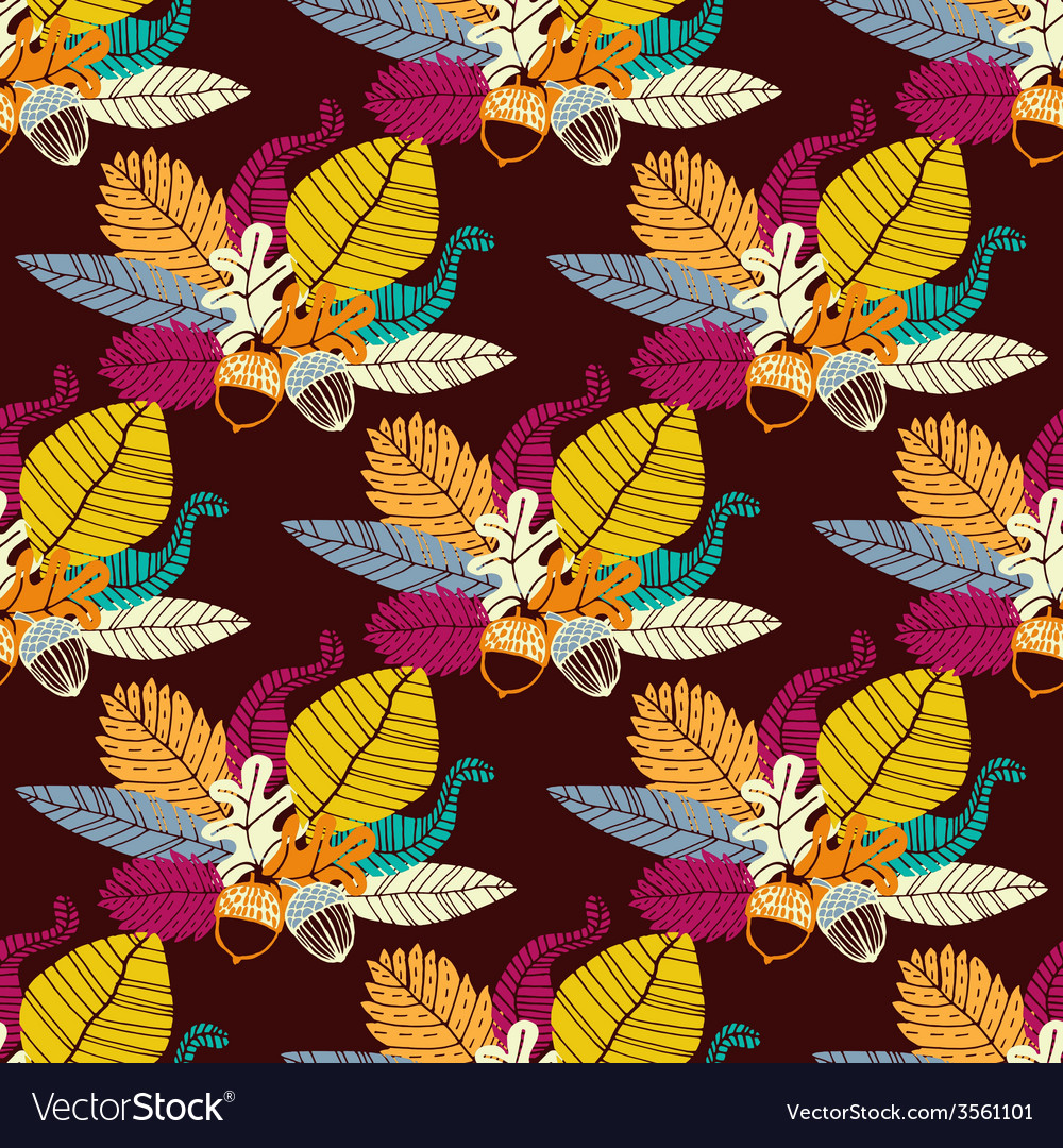 Seamless pattern with acorns and oak leaves vector | Price: 1 Credit (USD $1)