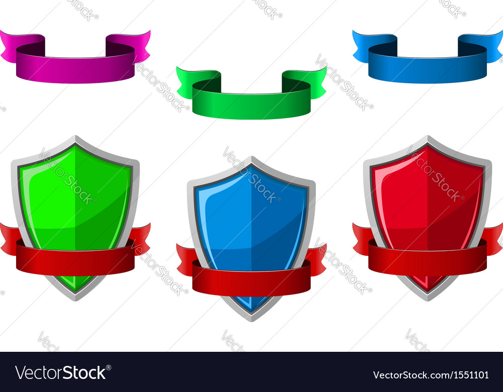 Security icons with shields and ribbons vector | Price: 1 Credit (USD $1)