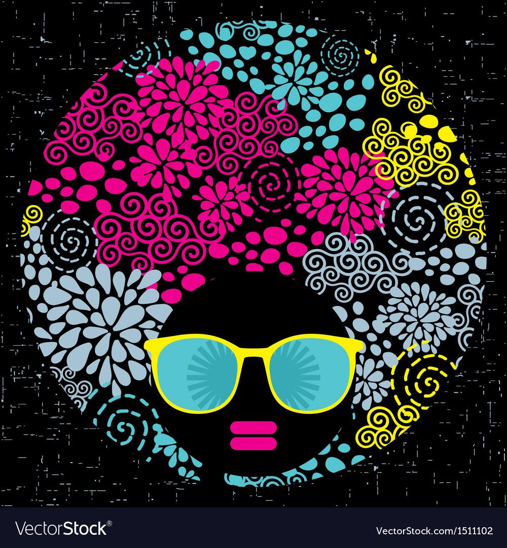 Black head woman with strange pattern hair vector