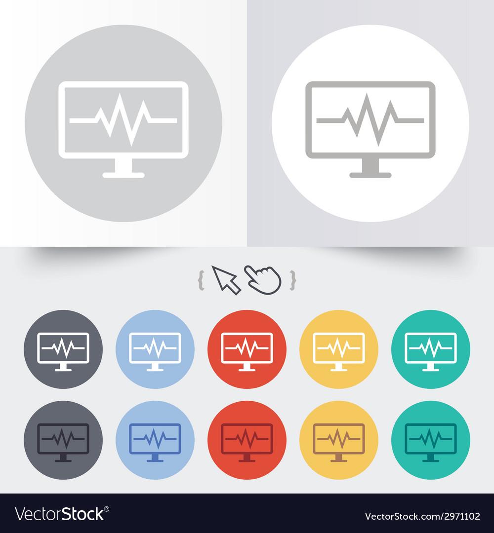 Cardiogram monitoring sign icon heart beats vector | Price: 1 Credit (USD $1)