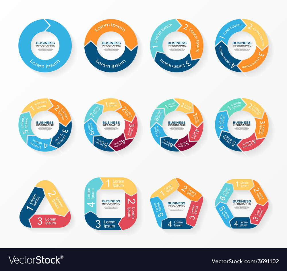 Circle arrows infographics diagram graph vector | Price: 1 Credit (USD $1)