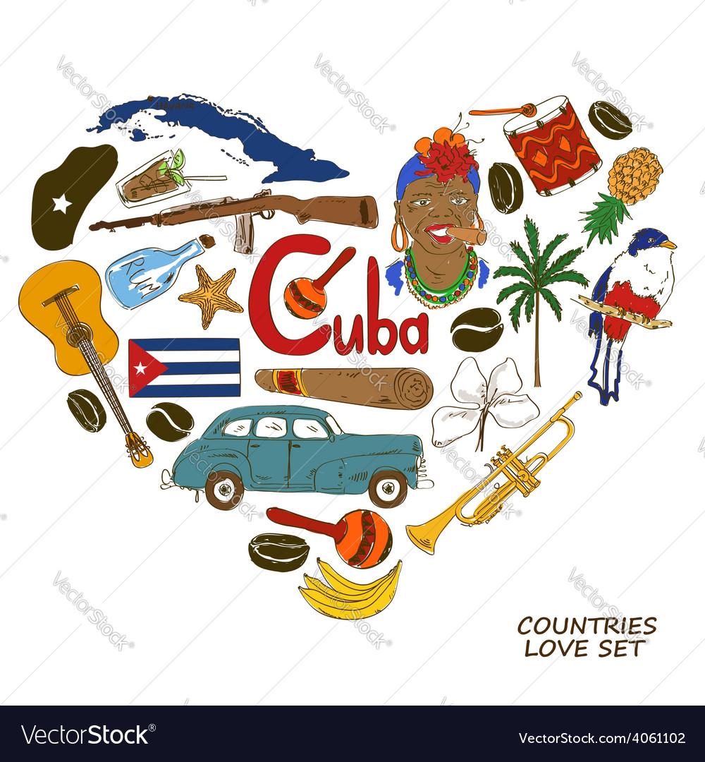 Cuban symbols in heart shape concept vector | Price: 1 Credit (USD $1)