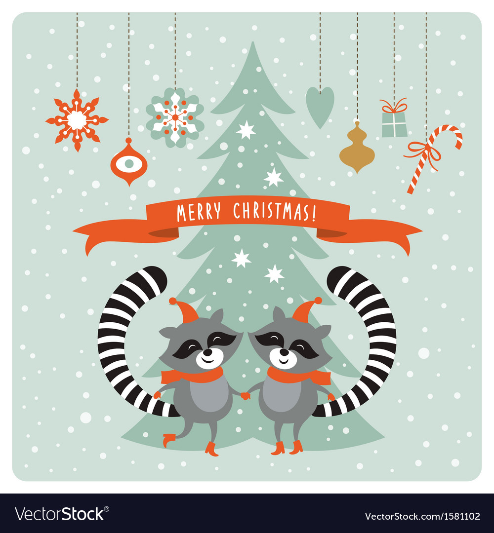 Cute raccoons  greeting card vector | Price: 1 Credit (USD $1)