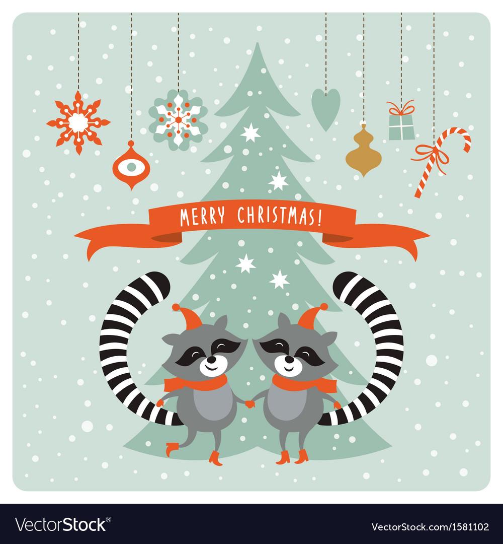 Cute raccoons  greeting card vector | Price: 1 Credit (USD $1)