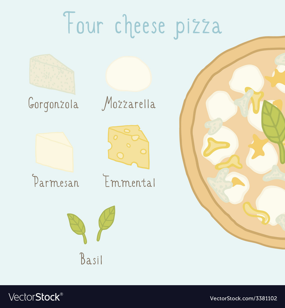 Four cheese pizza ingredients vector | Price: 1 Credit (USD $1)