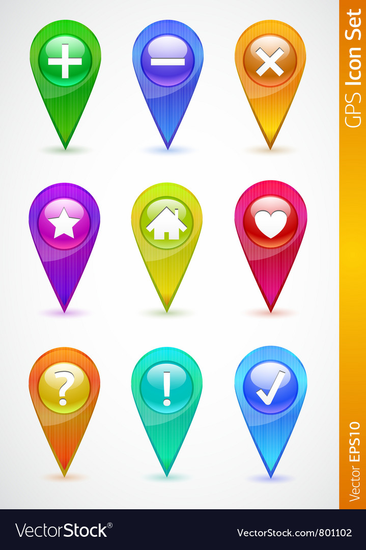 Gps and navigation icons vector | Price: 1 Credit (USD $1)