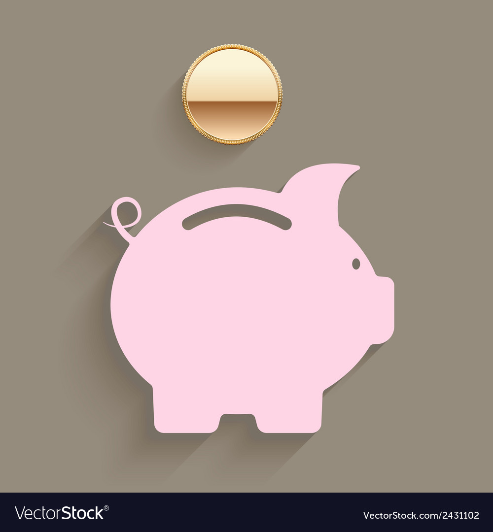 Pink piggy bank with a gold coin vector | Price: 1 Credit (USD $1)
