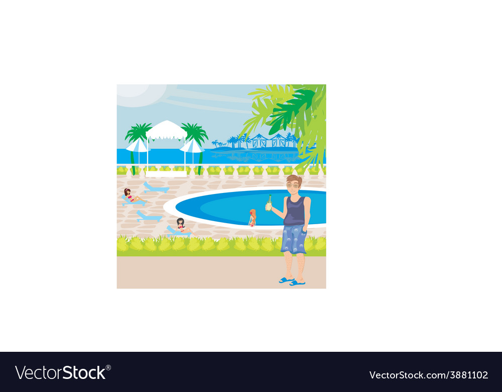 Tourists at the pool vector | Price: 1 Credit (USD $1)