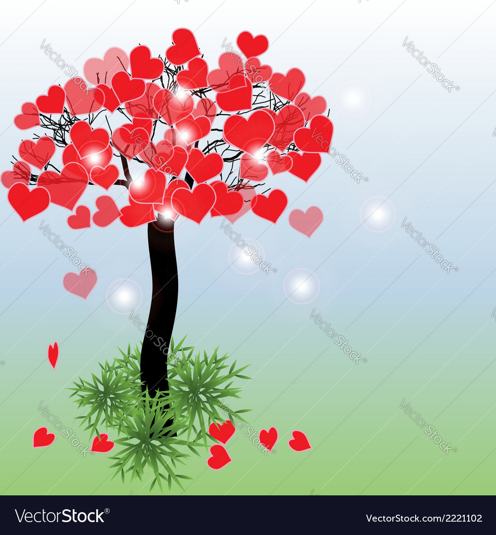 Tree with hearts vector | Price: 1 Credit (USD $1)