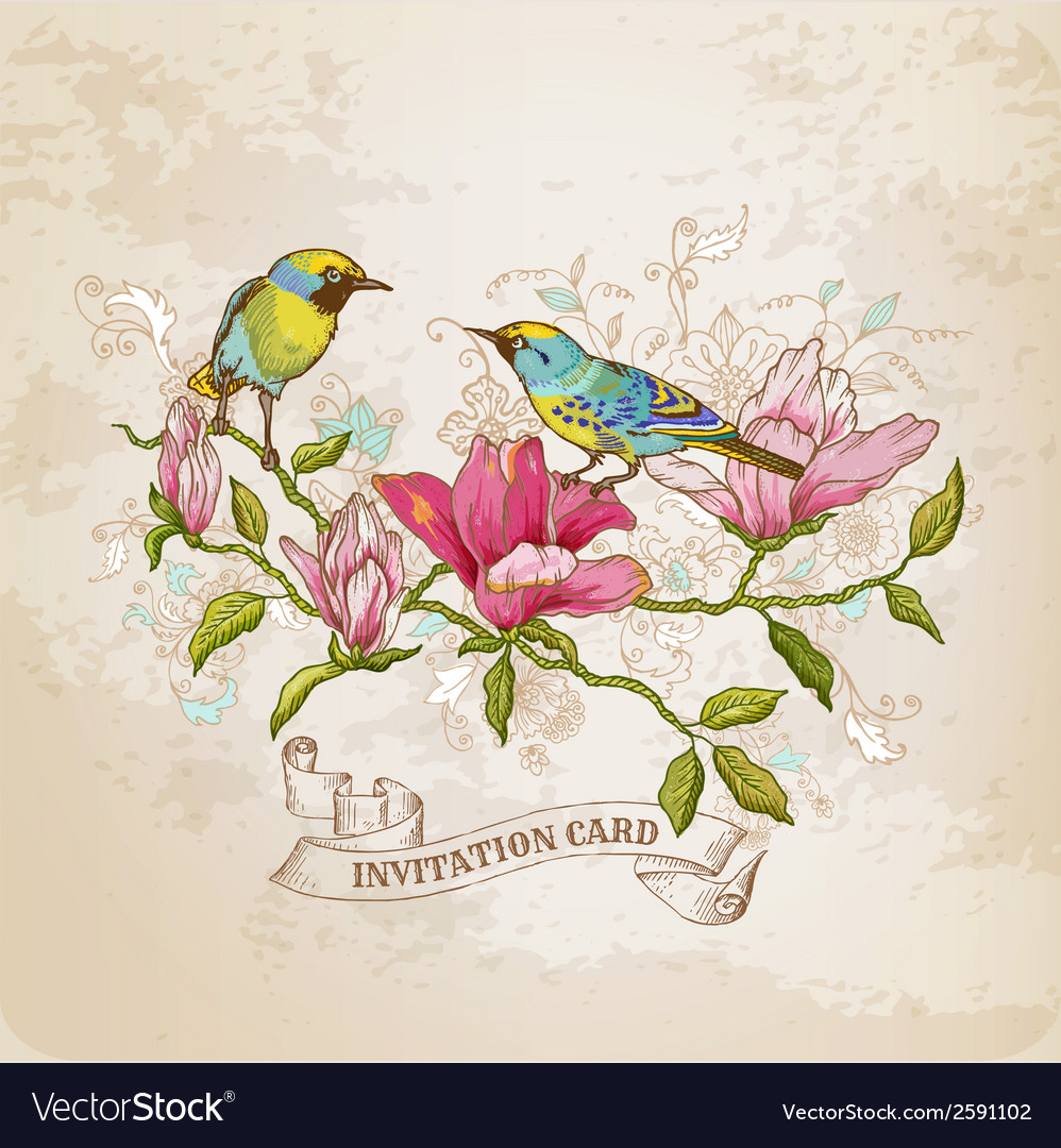 Vintage card - flowers and birds vector | Price: 1 Credit (USD $1)