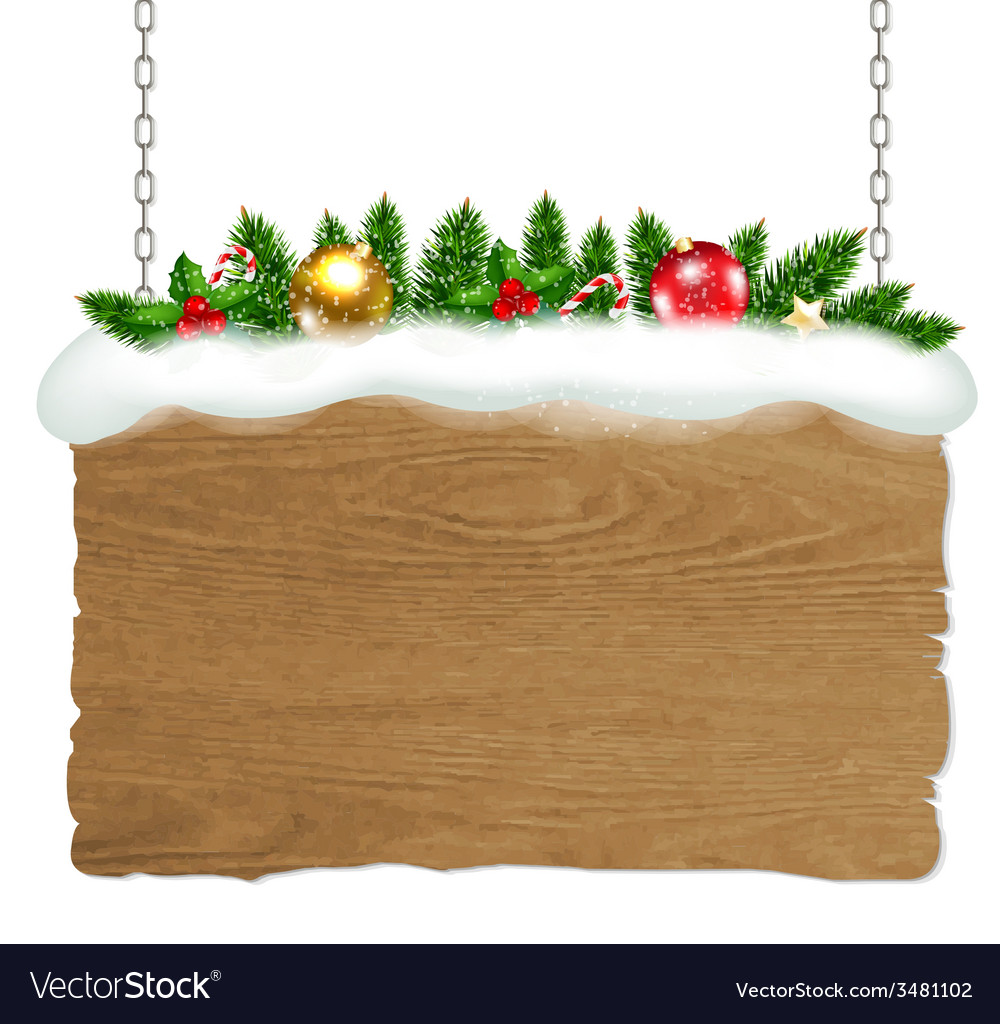 Wooden sign with fir tree and snow vector | Price: 1 Credit (USD $1)