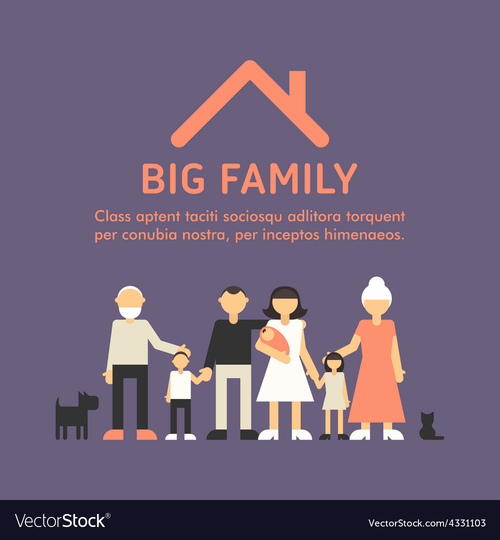Big happy family parents with children father vector | Price: 1 Credit (USD $1)