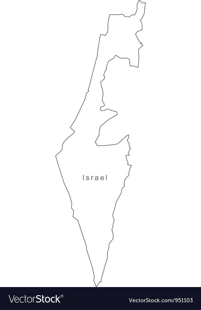 Black white israel outline map vector   Price: 1 Credit (USD $1)