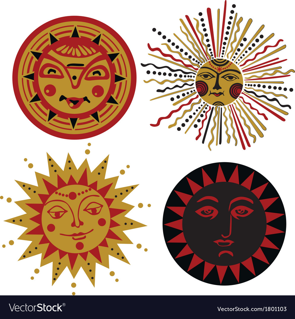 Four kinds of sun in the old russian style vector | Price: 1 Credit (USD $1)