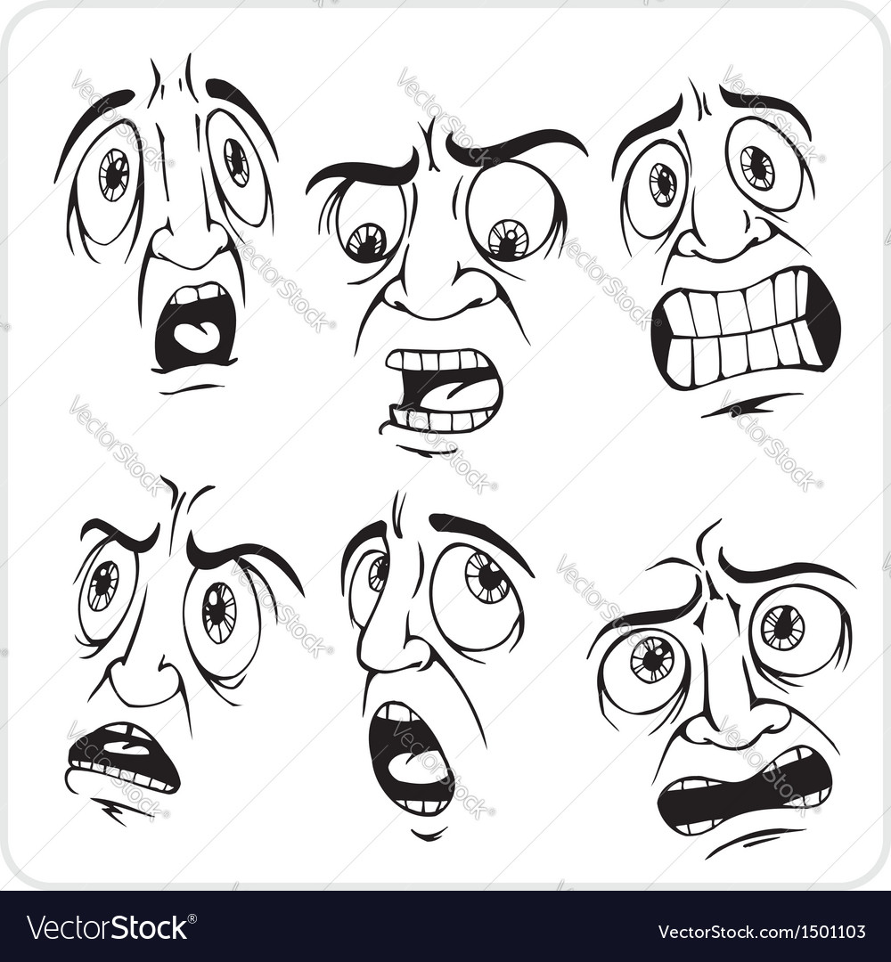 Frightened expression - set vector | Price: 1 Credit (USD $1)