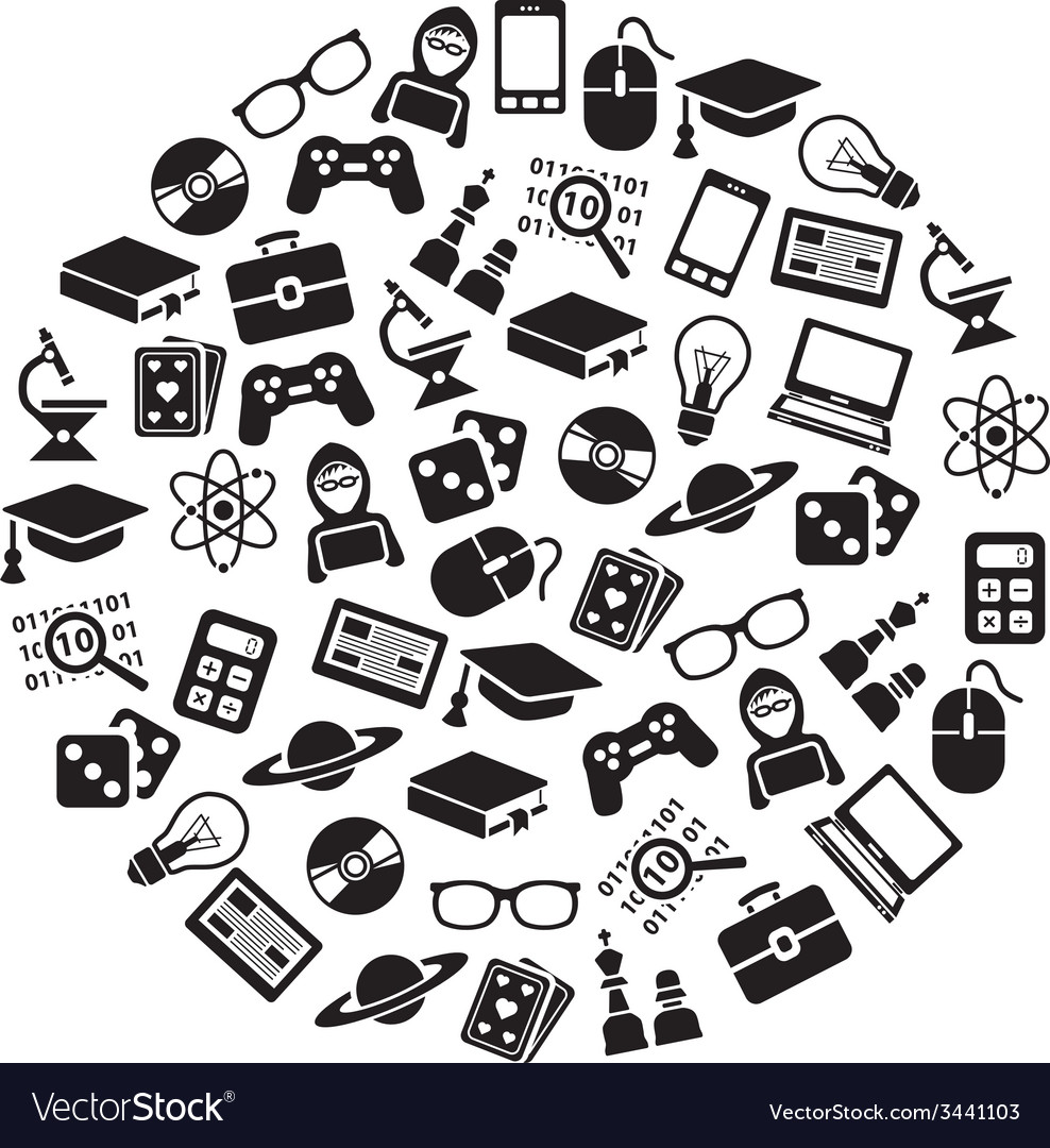 Geek icons in circle vector | Price: 1 Credit (USD $1)