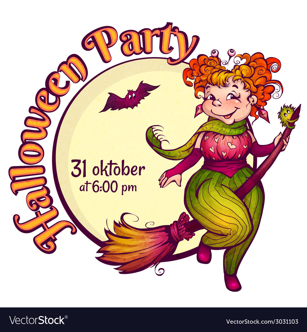 Invitation to halloween party with fun witch on a vector | Price: 1 Credit (USD $1)