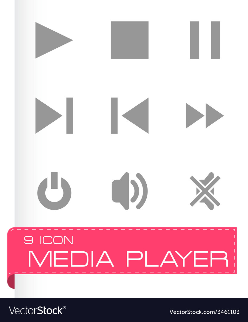 Media player icon set vector | Price: 1 Credit (USD $1)