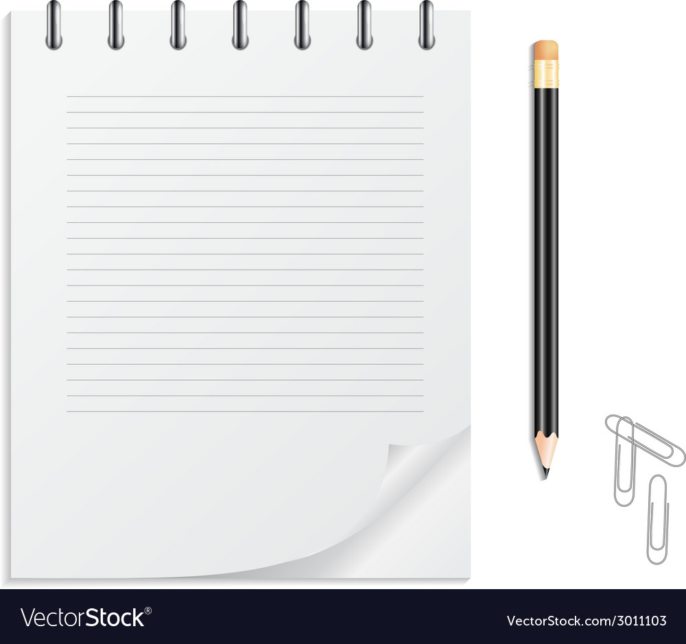 Notebook pencil and clips vector | Price: 1 Credit (USD $1)