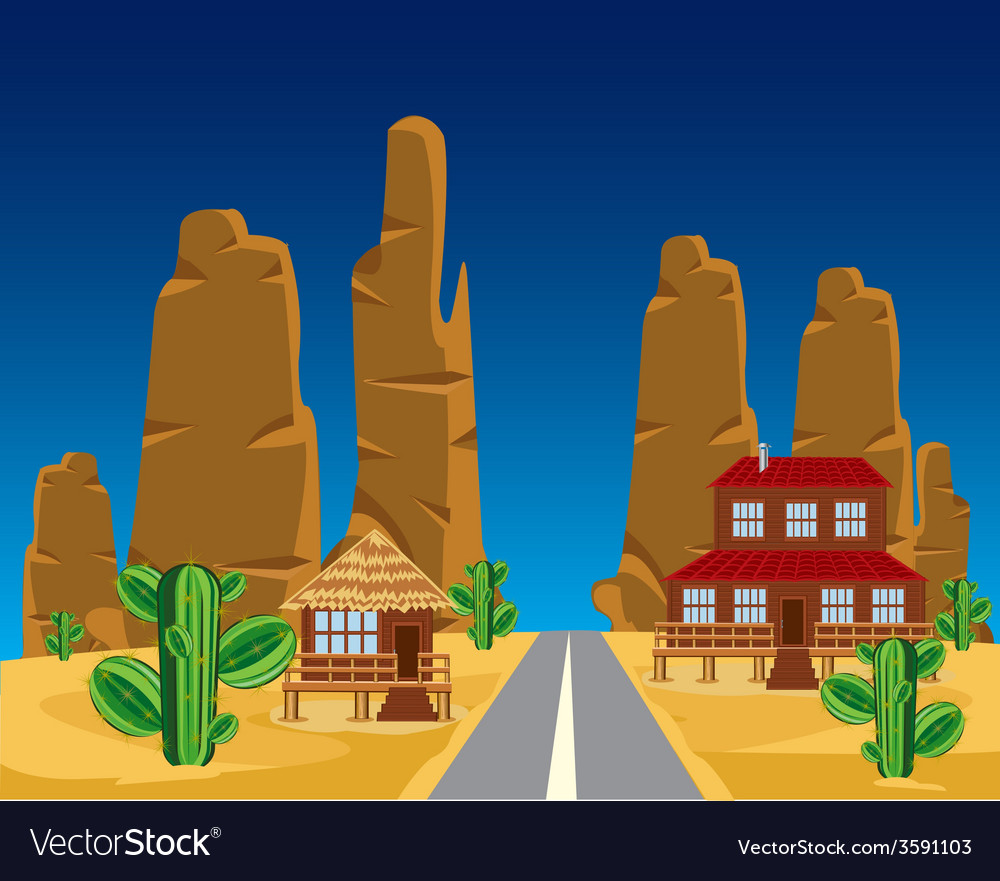Road in desert vector | Price: 1 Credit (USD $1)
