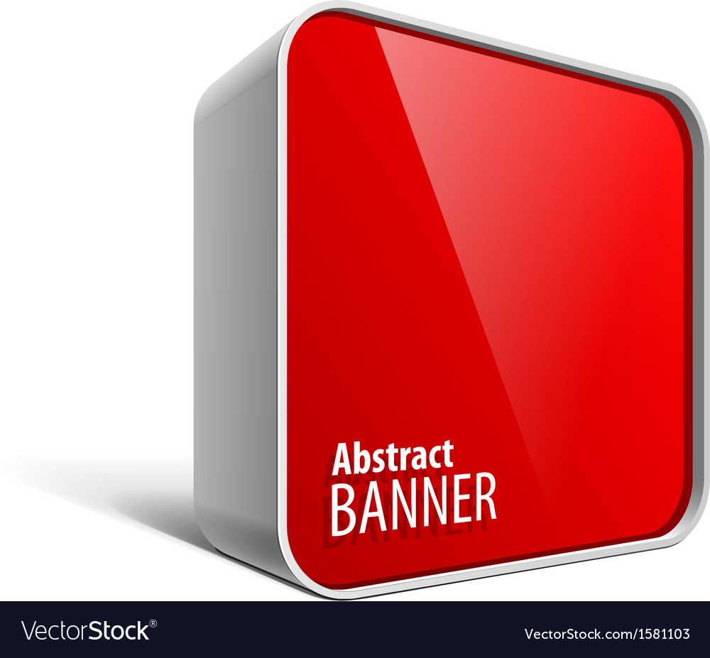Shiny gloss red banner in the form of a square box vector | Price: 1 Credit (USD $1)