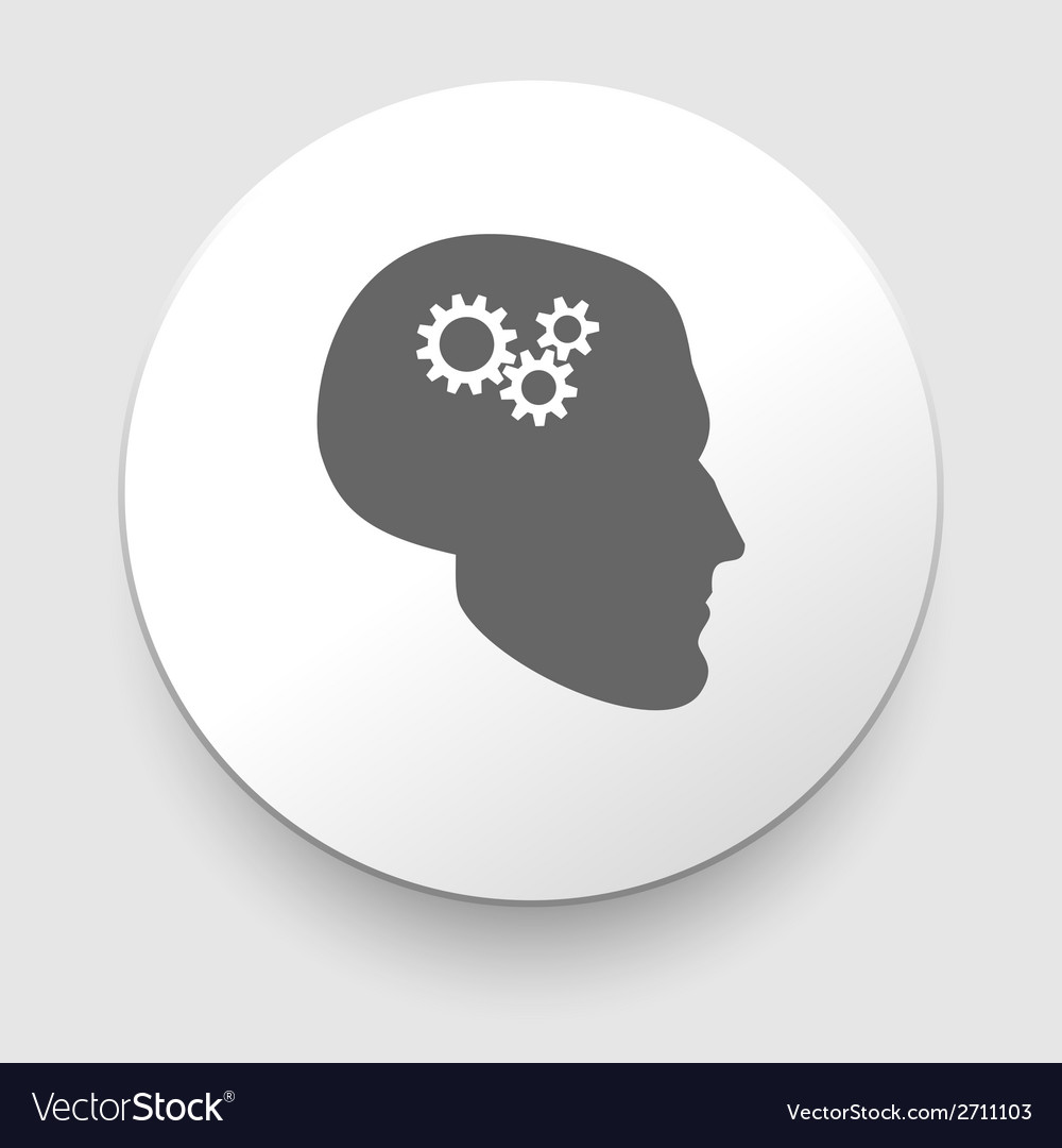 Silhouette of man head with gears vector | Price: 1 Credit (USD $1)