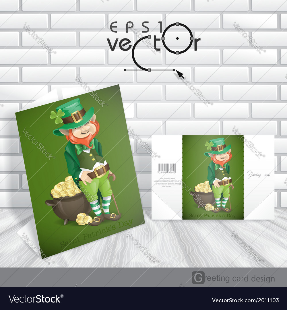 St patricks day leprechaun with pot of gold vector | Price: 1 Credit (USD $1)