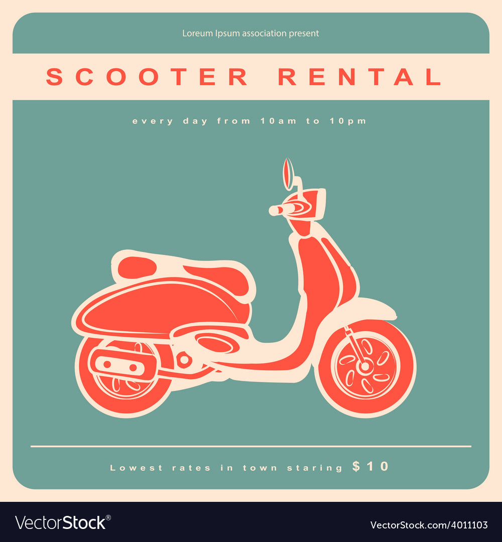 Vintage with a retro scooter vector | Price: 1 Credit (USD $1)