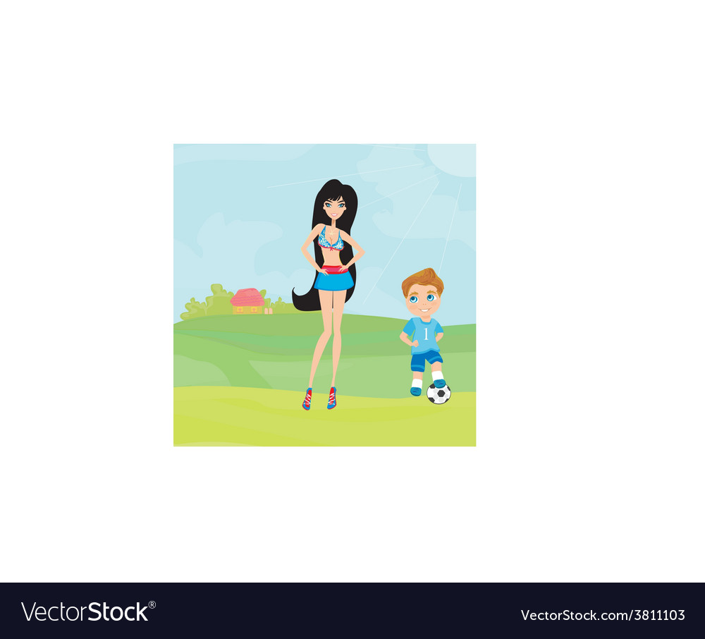 Young soccer player and sexy girl vector | Price: 1 Credit (USD $1)