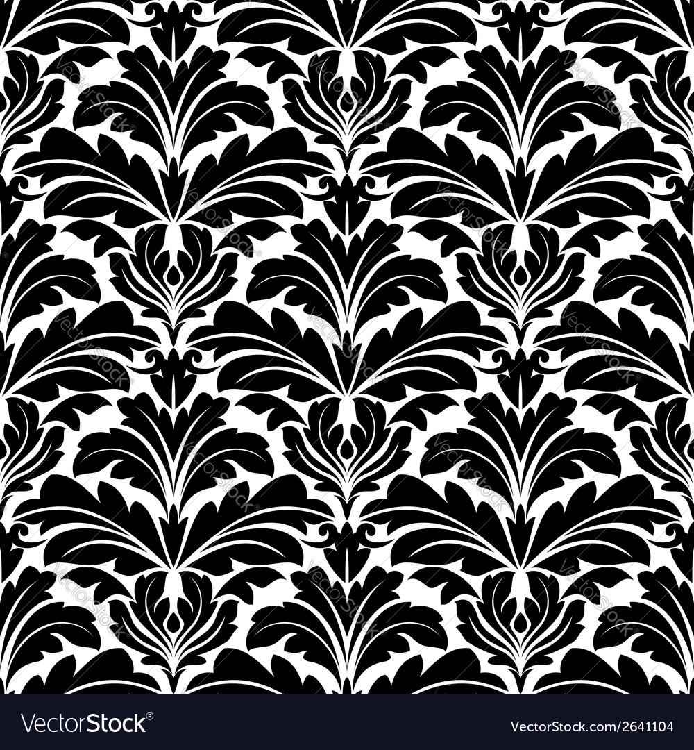 Bold black and white damask floral seamless vector | Price: 1 Credit (USD $1)
