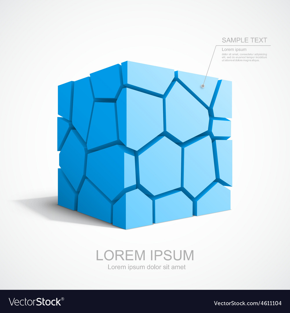 Cracked blue cube vector | Price: 3 Credit (USD $3)