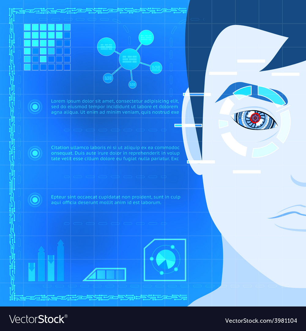 Eye biometrics scanner technology graphic design vector | Price: 1 Credit (USD $1)