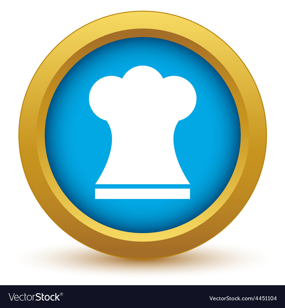 Gold chef hat icon vector