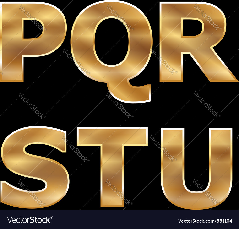 Gold letters set p-u vector | Price: 1 Credit (USD $1)