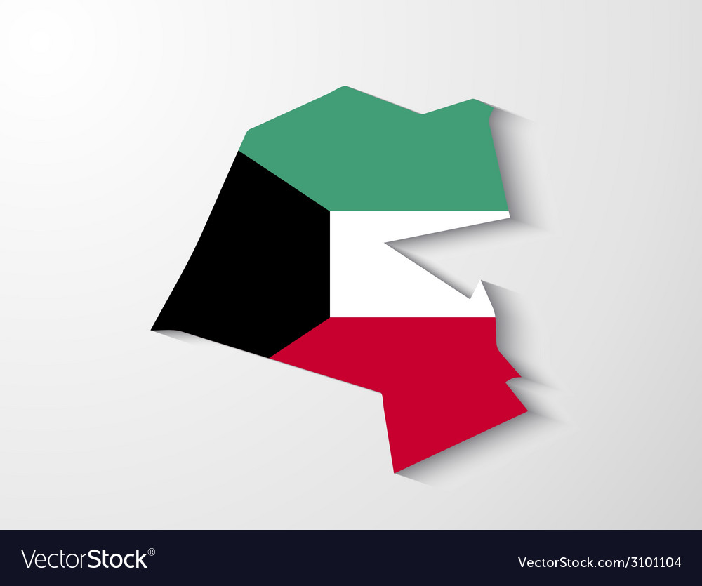 Kuwait country map with shadow effect vector | Price: 1 Credit (USD $1)