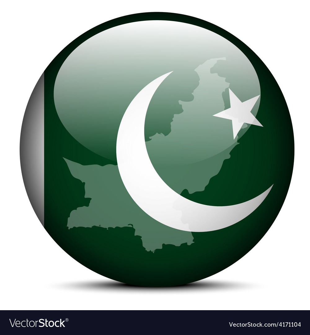 Map on flag button of islamic republic pakistan vector | Price: 1 Credit (USD $1)