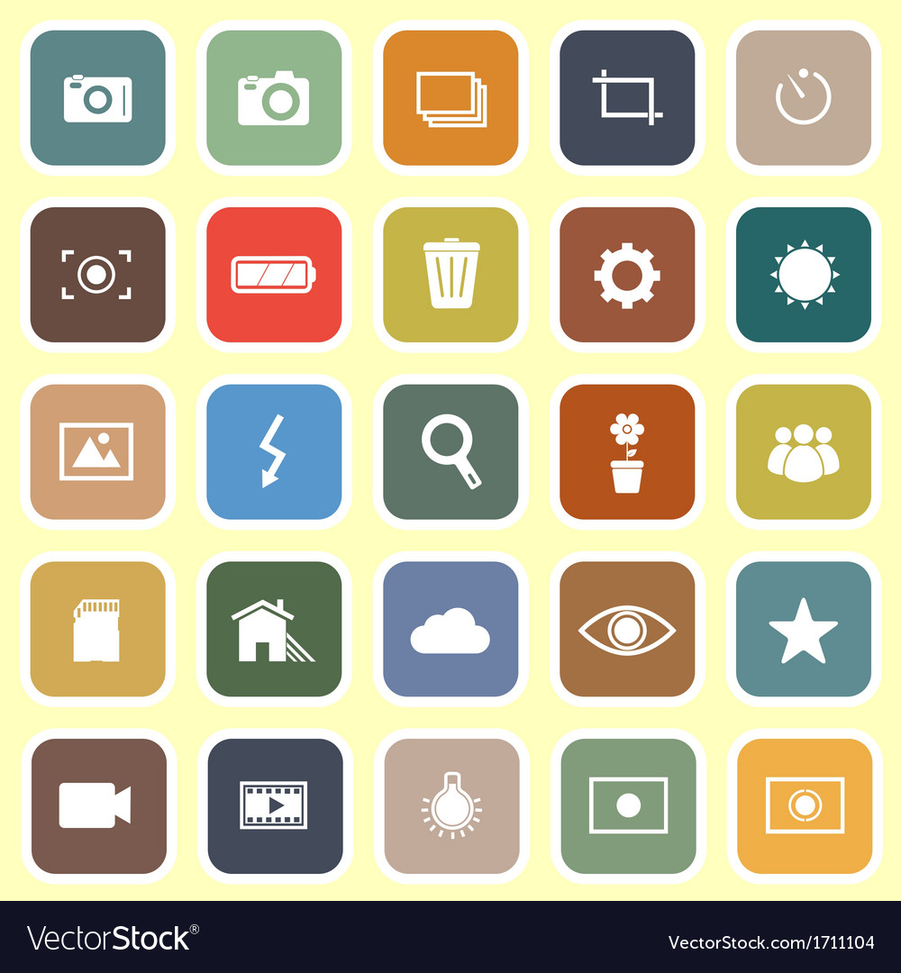 Photography flat icons on light background vector | Price: 1 Credit (USD $1)
