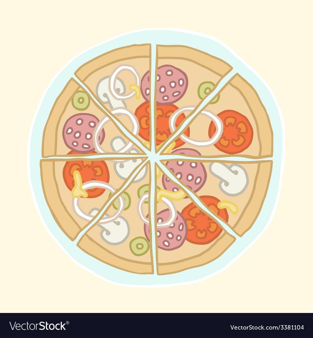Pizza cut into slices vector | Price: 1 Credit (USD $1)