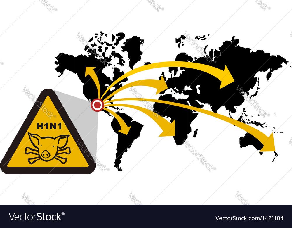 Risk of global epidemic of swine flu vector | Price: 1 Credit (USD $1)