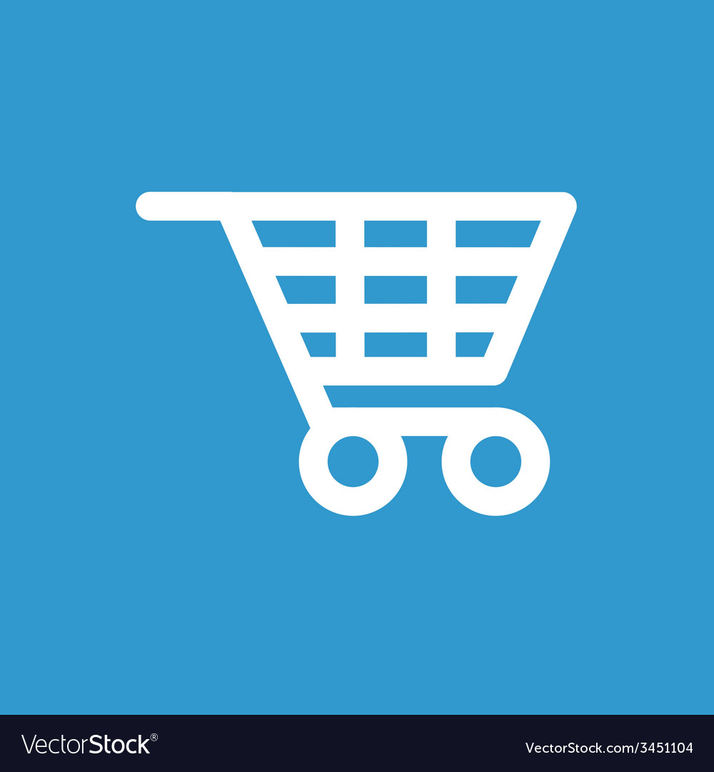 Shopping cart icon white on the blue background vector   Price: 1 Credit (USD $1)