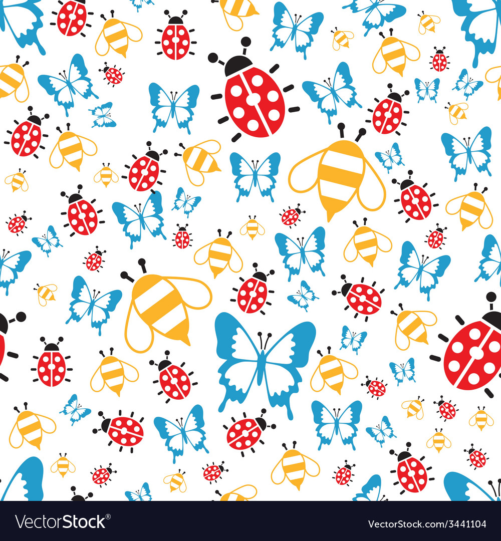 Spring bugs seamless pattern vector | Price: 1 Credit (USD $1)
