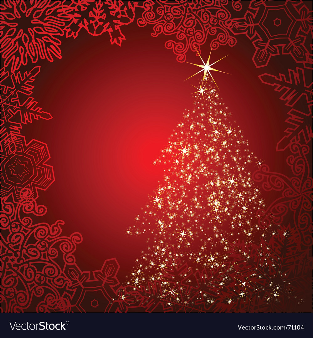 Starry christmas tree background vector | Price: 1 Credit (USD $1)
