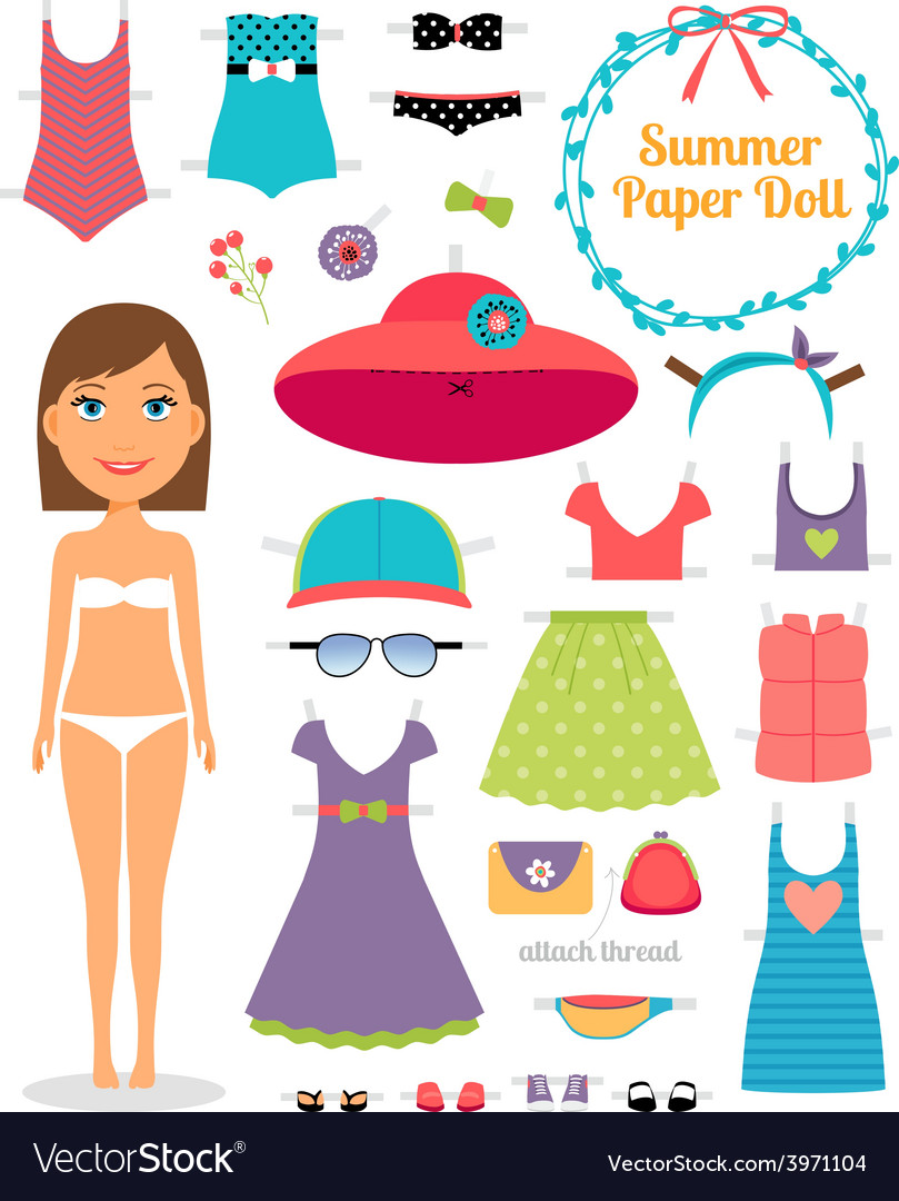Summer paper doll girl with dress and hat vector | Price: 1 Credit (USD $1)