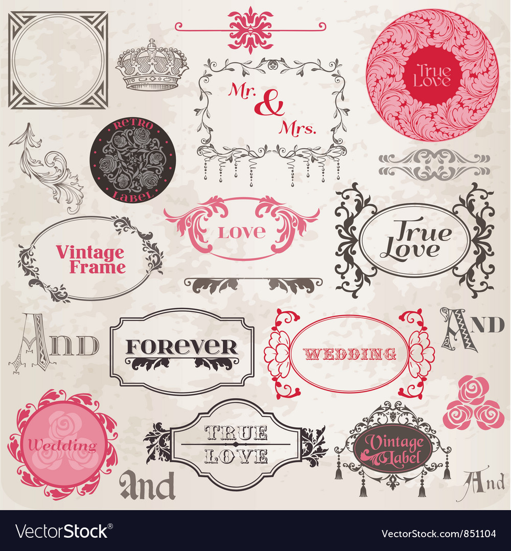 Wedding vintage frames and design elements vector | Price: 1 Credit (USD $1)