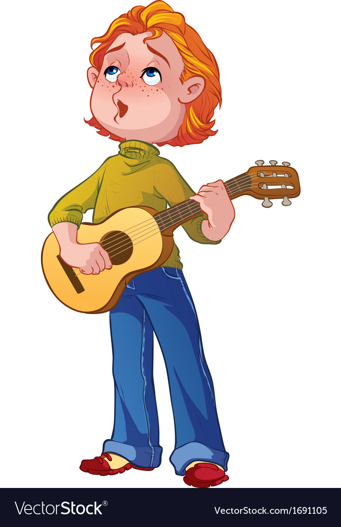 Boy with a guitar vector | Price: 1 Credit (USD $1)