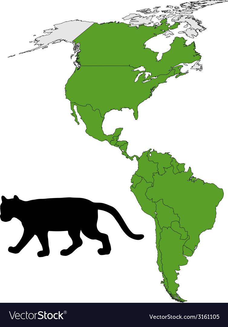 Cougar range map vector | Price: 1 Credit (USD $1)