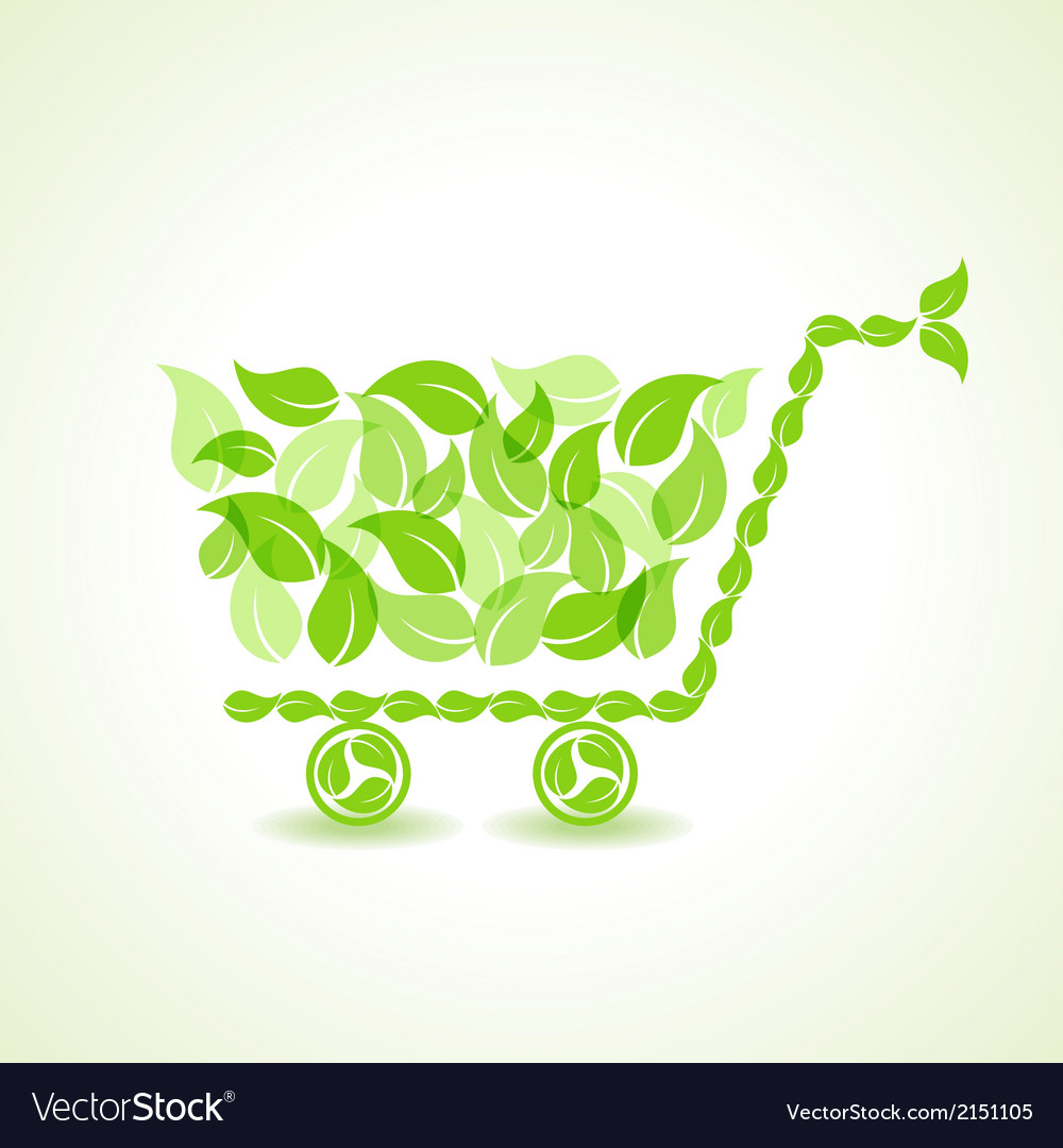 Eco shopping cart with group of green leaf stock vector | Price: 1 Credit (USD $1)